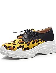 abordables -Femme Chaussures de confort Crin de Cheval Printemps été Oxfords Creepers Jaune Clair / Rouge