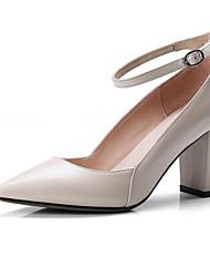 baratos -Mulheres Sapatos Confortáveis Pele de Carneiro Inverno Saltos Salto Robusto Preto / Rosa claro / Amêndoa