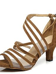 """Недорогие -Жен. Обувь для латины Лакированная кожа На каблуках Планка Каблук """"Клеш"""" Танцевальная обувь Черный / Желтый / Красный"""