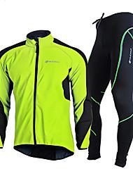 Недорогие -Муж. Велокуртка и брюки - Красный / Зеленый / Синий Велоспорт Наборы одежды, С защитой от ветра, Зима Однотонный