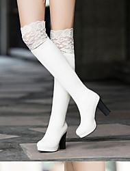 Недорогие -Жен. Fashion Boots Замша / Свиная кожа Осень Ботинки На шпильке Закрытый мыс Сапоги выше колена Белый / Черный