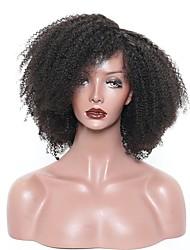 baratos -Cabelo Humano Frente de Malha Peruca Cabelo Brasileiro Encaracolado Afro Kinky Peruca Partida Profunda 130% Densidade do Cabelo Presente Venda imperdível Confortável Natural Mulheres Longo Perucas de