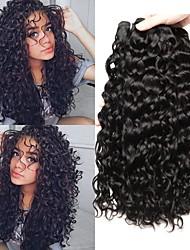 Недорогие -3 Связки Бразильские волосы Малазийские волосы Волнистые 8A Натуральные волосы Необработанные натуральные волосы Wig Accessories Подарки Головные уборы 8-28 дюймовый Естественный цвет
