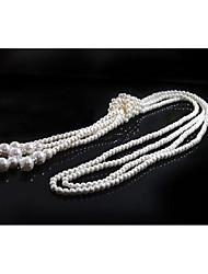 Недорогие -Жен. Многослойность Слоистые ожерелья / длинное ожерелье - Искусственный жемчуг модный, гипербола Милый Белый 110 cm Ожерелье Бижутерия 1шт Назначение Для клуба, фестиваль