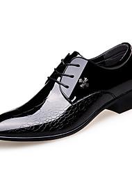 Недорогие -Муж. Официальная обувь Кожа Наступила зима Деловые / Английский Туфли на шнуровке Доказательство износа Черный / Свадьба / Для вечеринки / ужина