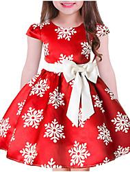 Недорогие -Дети Девочки Милая Рождество Цветочный принт С короткими рукавами Платье Синий 140