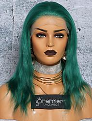 Недорогие -Не подвергавшиеся окрашиванию Полностью ленточные Парик Глубокое разделение С конским хвостом стиль Бразильские волосы Шелковисто-прямые Зеленый Парик 150% Плотность волос 12-24 дюймовый