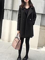 Недорогие -Жен. Пальто Классический / Уличный стиль - Однотонный Крупногабаритные