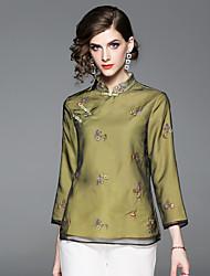baratos -Mulheres Camisa Social Vintage / Temática Asiática Bordado, Floral