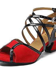 baratos -Mulheres Sapatos de Dança Latina Couro Sintético Salto Recortes Salto Grosso Sapatos de Dança Preto / Luz Vermelha