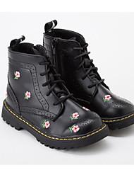 Недорогие -Девочки Обувь Микроволокно Зима Армейские ботинки Ботинки Цветы из сатина для Дети Белый / Черный