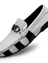 Недорогие -Муж. Кожаные ботинки Наппа Leather Осень Деловые / На каждый день Мокасины и Свитер Массаж Белый / Черный