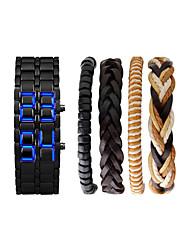 Недорогие -Муж. Наручные часы Японский Цифровой Нержавеющая сталь Черный / Серебристый металл Секундомер Новый дизайн Светящийся Цифровой Кольцеобразный Мода -  / Два года / Два года