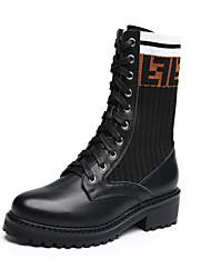 Недорогие -Жен. Кожаные ботинки Кожа / Эластичная ткань Зима Английский Ботинки На толстом каблуке Круглый носок Сапоги до середины икры Черный