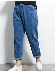 Недорогие -женские брюки из чистого джинса - сплошной цвет