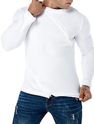 baratos -t-shirt justa para homem - gola redonda de cor sólida