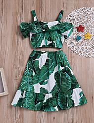 Недорогие -Дети Девочки Тропический лист С принтом Без рукавов Набор одежды