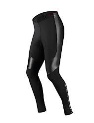 Недорогие -SANTIC Муж. Велобрюки Велоспорт Брюки Дышащий, Сохраняет тепло Однотонный Зима Черный Одежда для велоспорта