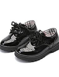 Недорогие -Мальчики / Девочки Обувь Полиуретан Осень Удобная обувь Туфли на шнуровке Шнуровка для Дети Черный / Черно-белый