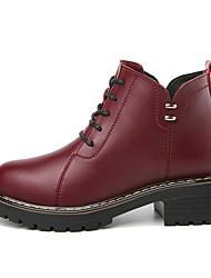저렴한 -여성용 구두 인조 가죽 가을 겨울 부츠 낮은 굽 둥근 발가락 부티 / 앵클 부츠 일상 / 사무실 및 경력 용 블랙 / 버건디