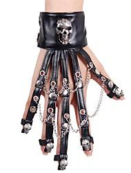 Недорогие -Дьявол Перчатки Заклепка Готический стиль Steampunk Скелет Черный Мода Черепа Перчатки Синтетическая кожа Сплав костюмы