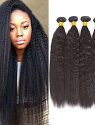 זול -4 חבילות שיער ברזיאלי Yaki Straight שיער ראמי שיער אנושי טווה שיער אדם שיער Bundle פתרון חפיסה אחת 8-28 אִינְטשׁ צבע טבעי שוזרת שיער אנושי ללא ריח איכות מעולה הגעה חדשה תוספות שיער אדם בגדי ריקוד נשים
