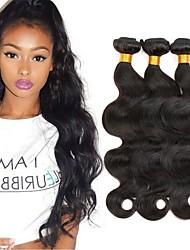 ieftine -3 pachete Păr Peruvian Ondulat Stil Ondulat 8A Păr Natural Neprocesat Umane tesaturi de par Atribut Îngrijire Păr Extensii 8-28 inch Culoare naturală Umane Țesăturile de par Moale Mătăsos Modă Umane