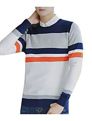 tanie -Męskie Codzienny Moda miejska Kolorowy blok Długi rękaw Regularny Pulower Szary / Jasnoszary / Królewski błękit XL / XXL / XXXL