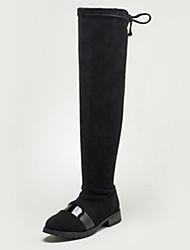 Недорогие -Девочки Обувь Замша Зима Модная обувь Ботинки Молнии для Черный / Серый / Верблюжий / Бедро высокие сапоги