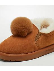 Недорогие -Девочки Обувь Кролик / Кожа Зима Зимние сапоги Ботинки Пом пом для Дети Серый / Верблюжий