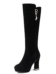 Недорогие -sw 5050 женской замши& зима случайные сапоги блок пятки закрытые носки колено высокие сапоги черный / вечеринка& вечер