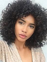 Недорогие -человеческие волосы Remy Полностью ленточные Лента спереди Парик Ассиметричная стрижка Rihanna стиль Бразильские волосы Афро Квинки Kinky Curly Черный Парик 150% 180% Плотность волос