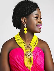 Недорогие -Жен. Многослойный Комплект ювелирных изделий Австрийские кристаллы Дамы, Мода, африканец Включают Струнные ожерелья Красный / Ярко-розовый / Светло-коричневый Назначение Свадьба / Серьги