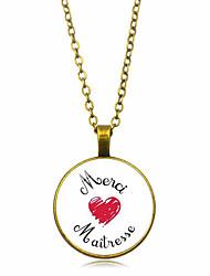 رخيصةأون -نسائي كلاسيكي قلائد الحلي / قلادة خمر - قلب أنيق, عتيق, Steampunk أسود, فضي, برونز 50 cm قلادة مجوهرات 1PC من أجل هدية, مناسب للبس اليومي
