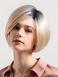 Недорогие -Человеческие волосы без парики Натуральные волосы Естественный прямой Стрижка боб / Стрижка под мальчика Новое поступление / Волосы с окрашиванием омбре / Природные волосы Разноцветный Короткие