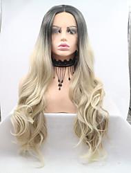 Χαμηλού Κόστους -Συνθετικές μπροστινές περούκες δαντέλας Κυματομορφή Σώματος Χρυσό Κούρεμα με φιλάρισμα Μαύρο και Χρυσό 130% Ανθρώπινο πυκνότητα των τριχών Συνθετικά μαλλιά 26 inch Γυναικεία Γυναικεία Χρυσό / Μαύρο