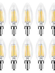 Недорогие -YWXLIGHT® 10 шт. 6 W 500-600 lm E14 LED лампы в форме свечи / LED лампы накаливания C35 6 Светодиодные бусины COB Тёплый белый / Белый 220-240 V