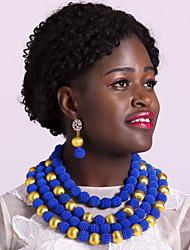 Недорогие -Жен. Многослойный Комплект ювелирных изделий Дамы, Мода, африканец Включают Струнные ожерелья Зеленый / Розовый / Ярко-розовый Назначение Для вечеринок / Серьги
