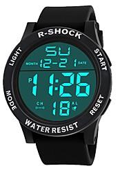 Недорогие -Муж. Спортивные часы электронные часы Японский Цифровой Крупногабаритные силиконовый Черный 30 m Защита от влаги Будильник Календарь Цифровой Мода - Черный Черный / Белый / Секундомер / Хронометр