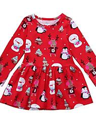 Недорогие -Дети Девочки Активный Рождество Мультипликация Без рукавов / Длинный рукав Выше колена Платье Красный 100