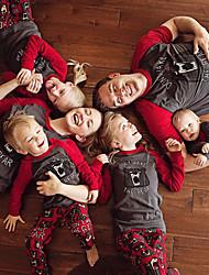 abordables -Regard de la famille Basique Noël / Sports Lettre Manches Courtes Polyester Ensemble de Vêtements Gris Petite Fille 110
