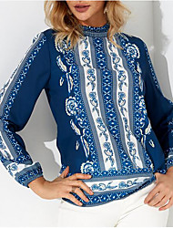 Недорогие -Жен. Блуза Однотонный / Контрастных цветов Черное и белое
