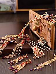 Недорогие -Жен. Красный Старинный Комплект ювелирных изделий - Гипсофила Этнический Включают Шпильки для волос Золотой Назначение Свадьба Для вечеринок