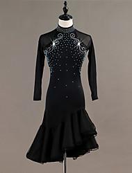 abordables -Danse latine Robes Femme Entraînement / Utilisation Spandex / Tulle Cristaux / Stras Manches Longues Taille haute Robe