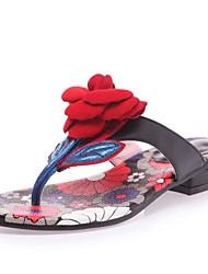 baratos -Mulheres Pele Napa Verão Doce / Minimalismo Chinelos e flip-flops Sem Salto Ponta Redonda Flor de Cetim Verde / Azul