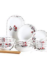 abordables -28 pièces Bols Assiettes Plats de Service Vaisselle Porcelaine Céramique Service en terre Mignon Design nouveau Adorable
