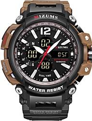 Недорогие -Муж. Спортивные часы электронные часы Японский Японский кварц силиконовый Черный 30 m Защита от влаги Календарь Фосфоресцирующий Аналого-цифровые Мода - Черный Черный / коричневый