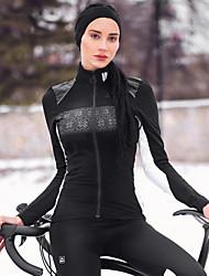 Недорогие -SANTIC Жен. Велокуртки Велоспорт Зимняя куртка С защитой от ветра Однотонный, Геометрический принт Эластан Зима Черный Продвинутый уровень Горные велосипеды Очень свободное облегание / Эластичная