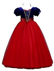abordables -Princesse Rétro Années 70 Années 80 Costume Fille Enfant Robes Costume de Soirée Jaune / Rouge / Bleu Vintage Cosplay Organza Sans Manches Tee-shirt