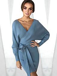 baratos -Mulheres Tricô Vestido - Enrole, Sólido Mini / Decote V / Outono / Inverno